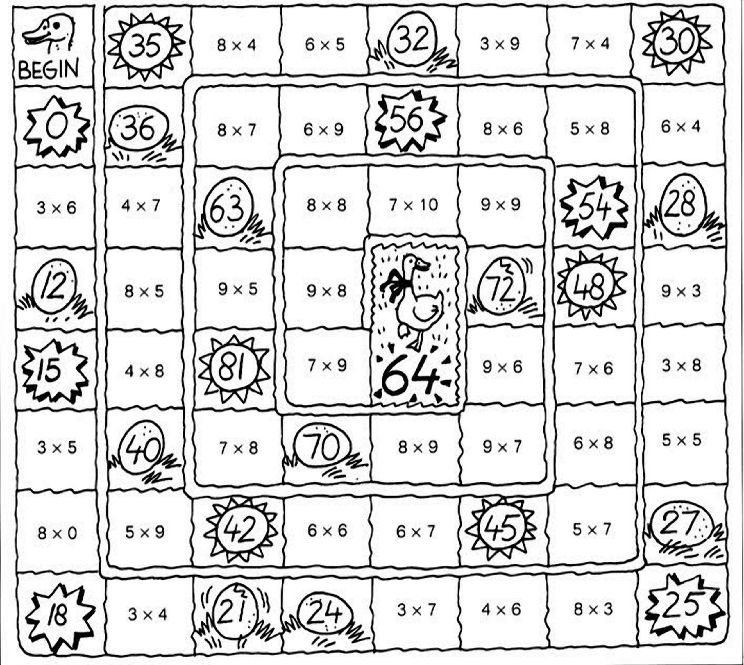 Математическая настольная игра — игровое поле