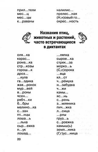 Трудные слова русского языка из диктантов 20