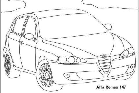 Картинки-раскраски с автомобилями Alfa Romeo 1