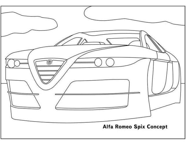 Картинки-раскраски с автомобилями Alfa Romeo 2