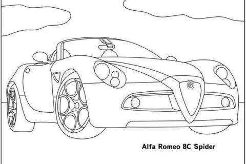 Картинки-раскраски с автомобилями Alfa Romeo 3