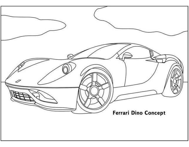 Сборник картинок - раскрасок с автомобилями Ferrari 1