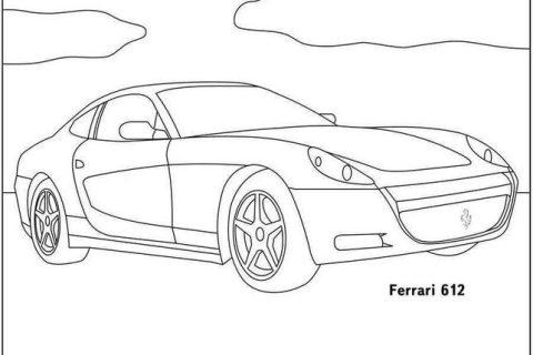 Сборник картинок - раскрасок с автомобилями Ferrari 2