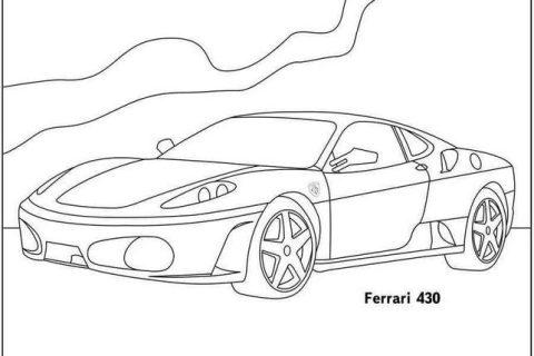 Сборник картинок - раскрасок с автомобилями Ferrari 3
