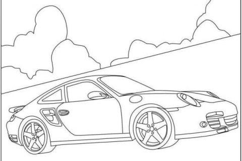 Раскраска с автомобилями Porsche 1
