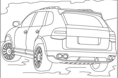 Раскраска с автомобилями Porsche 2