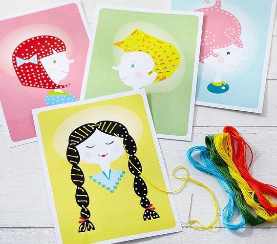 Карточки шаблоны для вышивания ребенком
