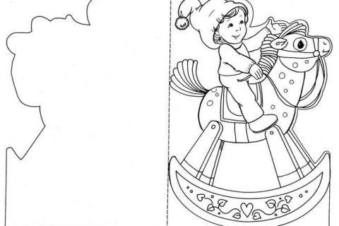 Новогодние открытки - раскраски 1