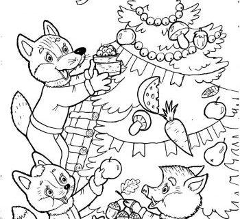 Раскраска про Новый Год и приключение Деда Мороза 10