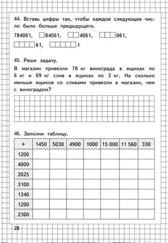 Задания по математике 4 класс 3